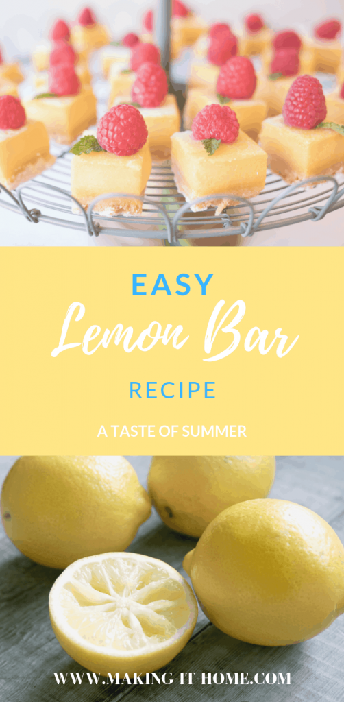 Every spring I start to crave the fresh zing of lemons. I firmly believe it's because I can't wait for summer! There's nothing more summertime then the taste of lemon. Make this easy lemon bar recipe and wow everyone at your next get together. #summer #lemonbars #lemonbarrecipe