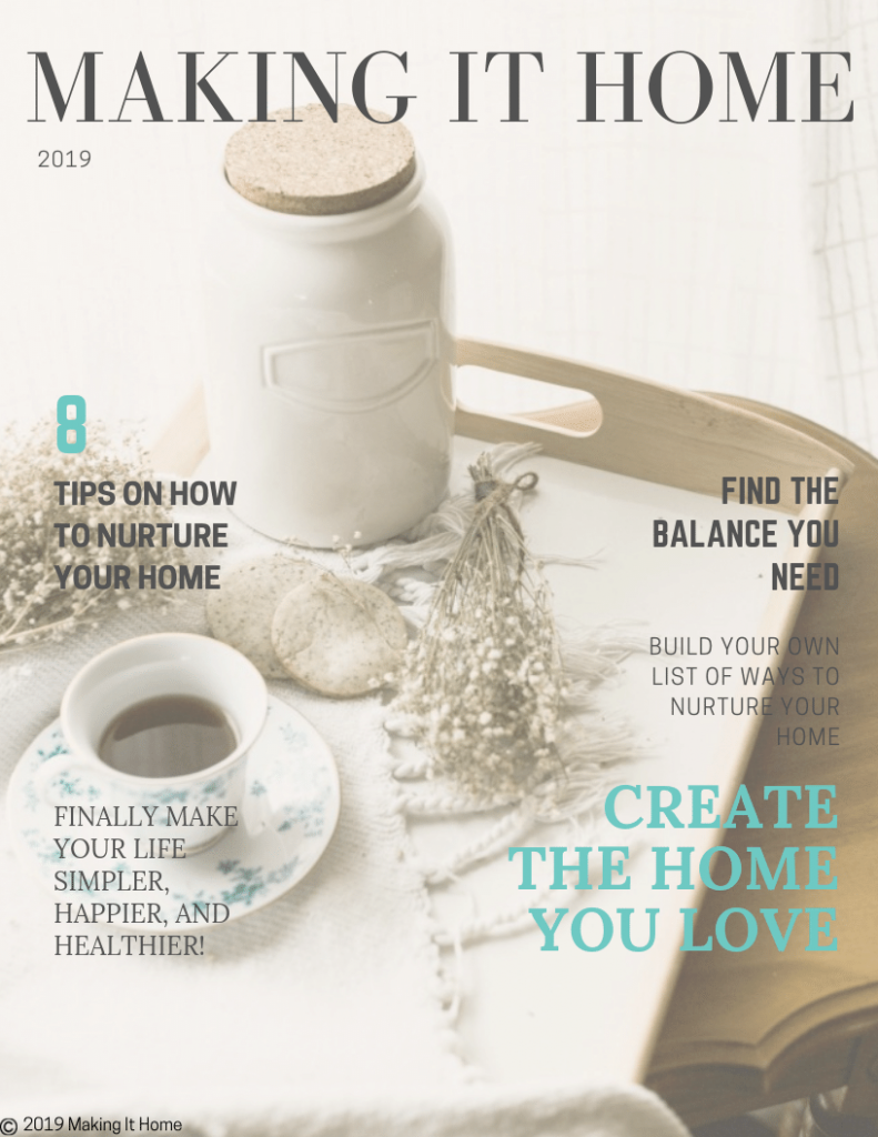 magazine cover about nurturing your home has a tea tray with tea and baby's breathe