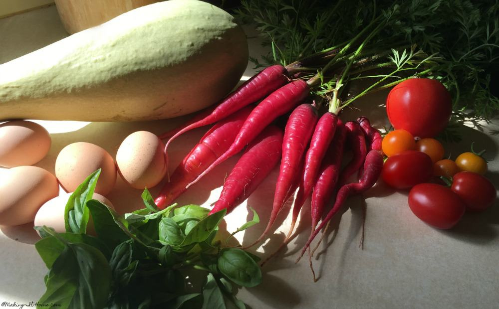 Organic produce and eggs harvest
