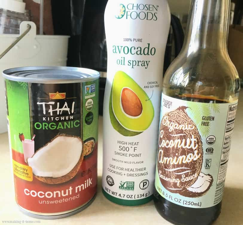 Organic Food Brand Products coconut milk, avocado spray, and coconut aminos