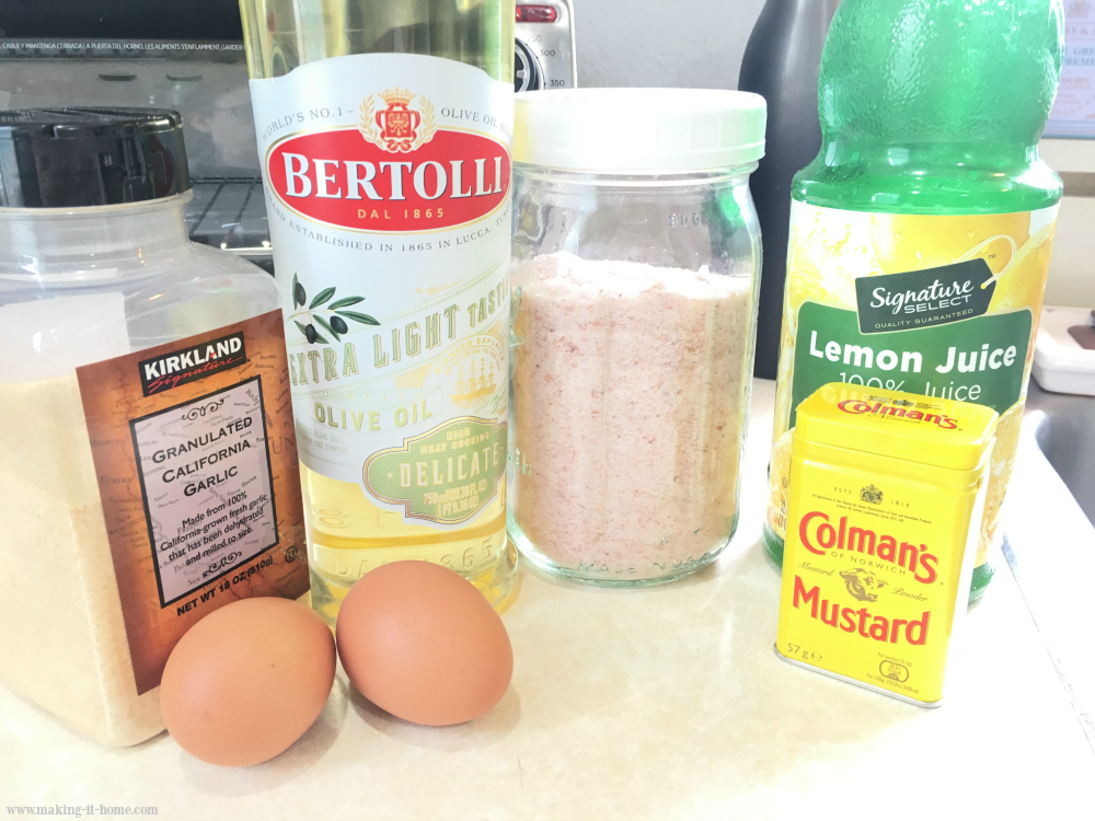 garlic powder, eggs, olive oil, salt, lemon juice, and mustard. Ingredients needed to make homemade mayonnaise