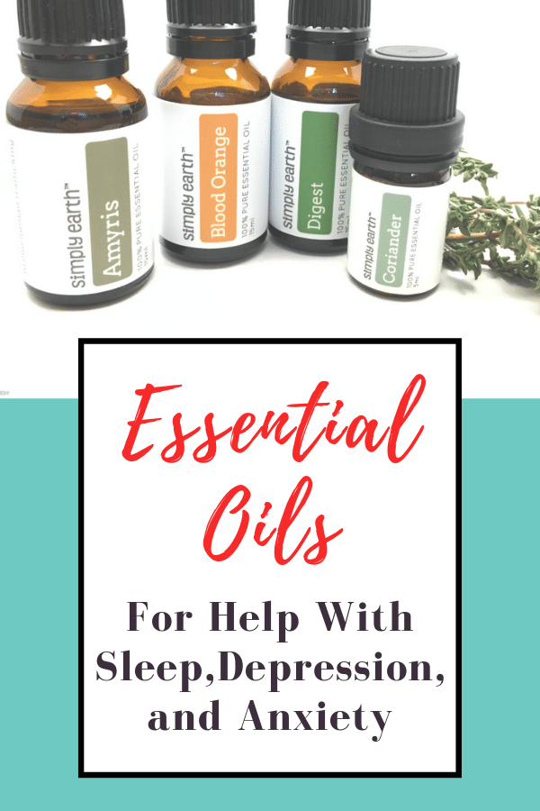 Essential oil bottles how to use essential oils to help with sleep, depression, and anxiety.
