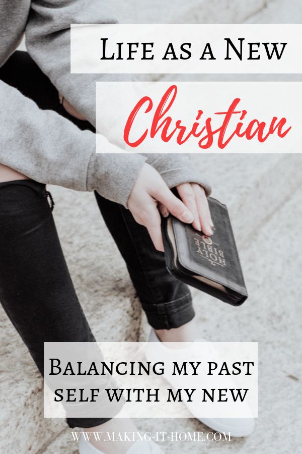 girl sitting on steps with Bible life as a new Christian Finding the Balance between my past self and who I am now